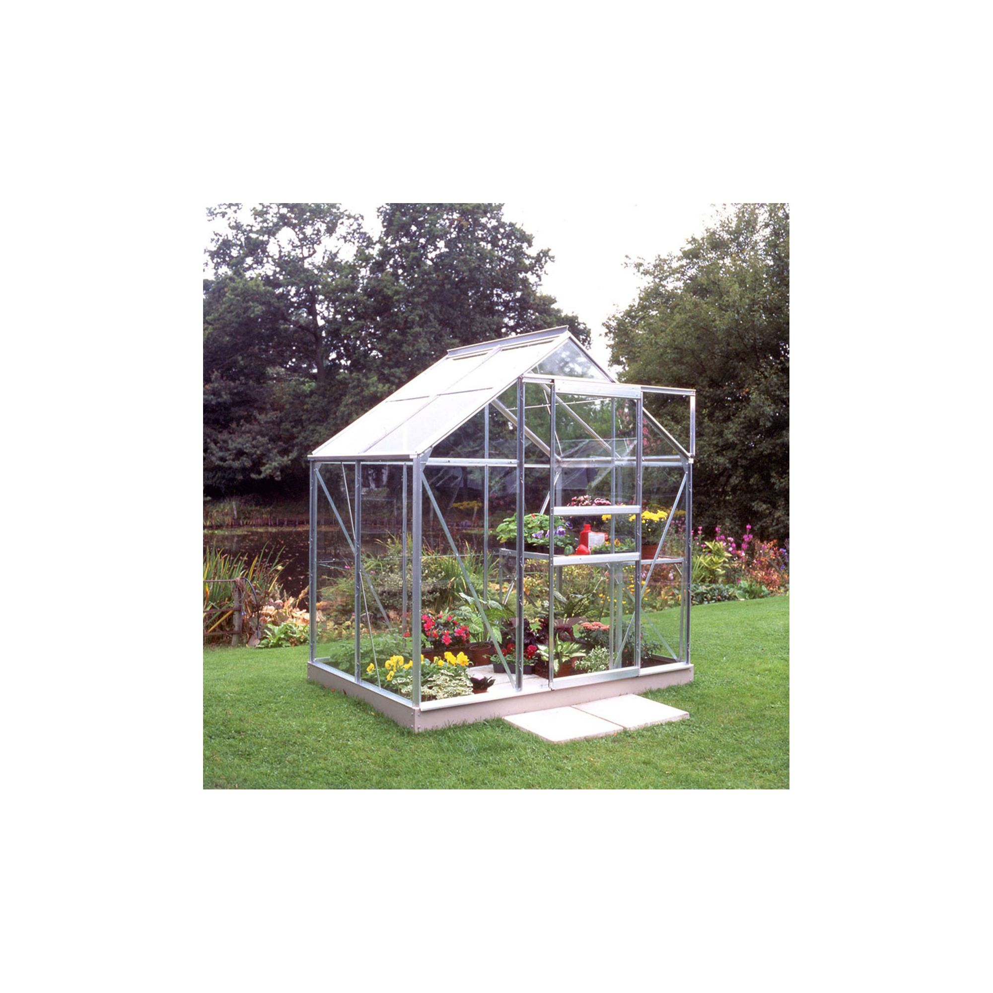 Halls 4x6 Popular Greenhouse + Base & Vents - Toughened Glass at Tesco Direct