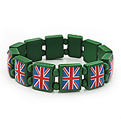 UK British Flag Union Jack Green Stretch Wooden Bracelet - up to 20cm length