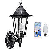 IP44 Dusk til Dawn Outdoor LED Wall Lantern - Brushed Silver with Warm White Bulb