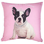 "Tesco French Bulldog ""Born To Be A Princess"" Cushion"