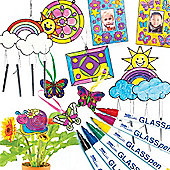Glass Painting Super Value Pack for Children to Colour-in Display and Hang for Spring. Save 22%!