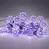 Set of 20 Battery Operated LED Sunflower String Fairy Lights in Purple