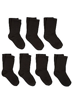 F&F 7 Pair Pack of Antibacterial Technology Ankle Socks - Black
