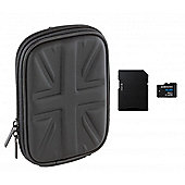Trendz Compact Camera Case - Union Jack with 4GB micro SDHC Memory Card with Adapter - MB-MS4GTBGB, MADPSDQ, MCAS