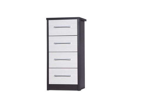 Alto Furniture Avola 4 Drawer Tall Boy Chest - Grey Carcass With White Avola