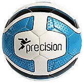 Precision Santos Training Ball White/Cyan Blue/Black Size 5