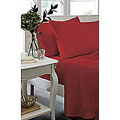 Catherine Lansfield Non Iron Percale Combed Poly-Cotton Flat Sheets in Red - Single