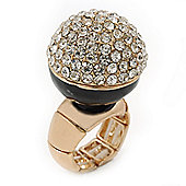 Statement Pave-Set Crystal, Black Enamel 'Ball' Flex Ring In Gold Plating - 25mm Across - Size 7/8