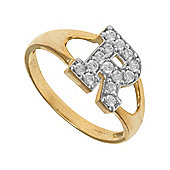 Jewelco London 9ct Gold Ladies' Identity ID Initial CZ Ring, Letter R - Size K