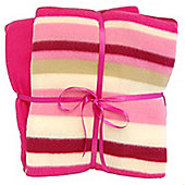 Cozy Time Twin Pack Fleece Blanket - 120cm x 150cm Pink Striped
