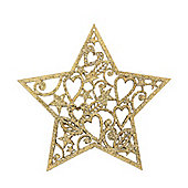 Gold Glitter Star Christmas Tree Decoration