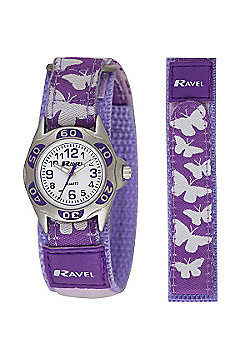 Girls Purple Butterfly Velcro Strap Watch