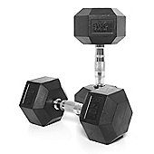 Body Power 15Kg Rubber Hex Dumbbells (x2)