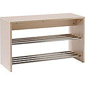 Hallway Shoe Storage Unit - Light Oak / Silver