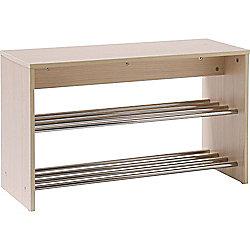 Hallway Shoe Storage Unit - Light Oak / Silver