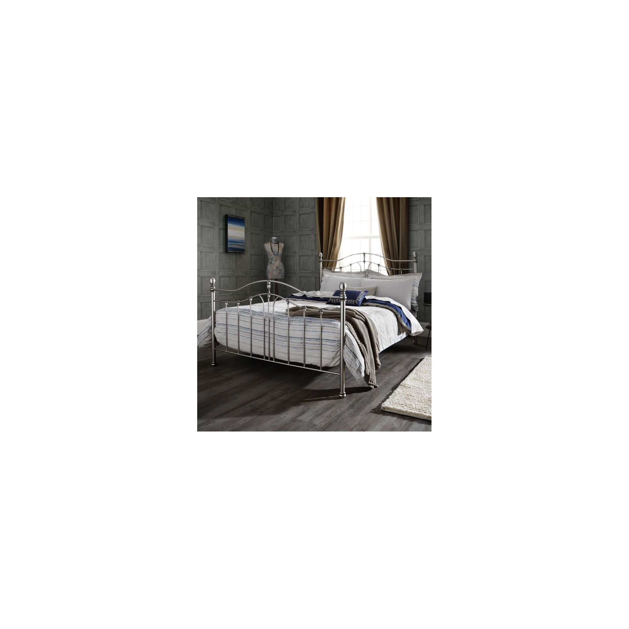 Serene Furnishings Camilla Bed Frame - Double - Satin Nickel / Antique Black at Tesco Direct