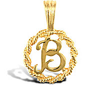 Jewelco London 9ct Gold Rope Initial ID Personal Pendant, Letter B - 0.9g