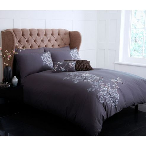 Pied A Terre Shadow Floral Double Duvet Cover In Charcoal
