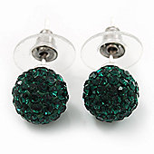Emerald Green Swarovski Crystal Ball Stud Earrings In Silver Plated Finish - 9mm Diameter