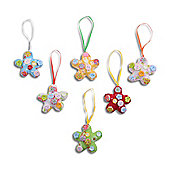 Set Of Six Handmade Vibrant Fabric Hanging Flower Decorations with Button Finish