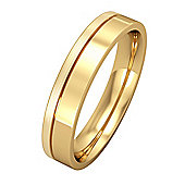 9ct Yellow Gold - 4mm Flat-Court with Fine Groove Wedding Ring