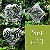 Set Of Three Steel Windspinner For The Garden Flower, Diamond & Heart Shaped
