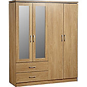 Charles 4 Door 2 Drawer Mirrored Wardrobe Oak Effect Veneer with Walnut Trim