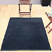 Homescapes Chenille Plain Cotton Extra Large Rug Black, 110 x 170 cm