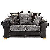 Lima fabric mix small sofa black and charcoal