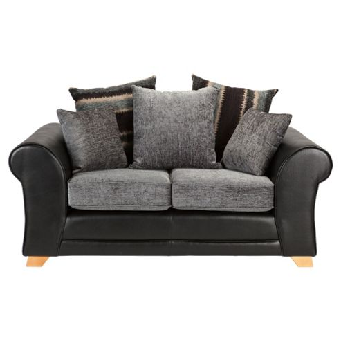 Lima fabric mix Small 2 seater  sofa black and charcoal