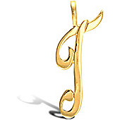 Jewelco London 9ct Gold Script Initial ID Personal Pendant, Letter T -1.5g
