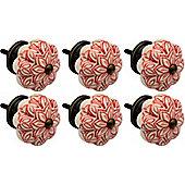 Ceramic Cupboard Drawer Knobs - Vintage Flower Design - Red - Pack Of 6