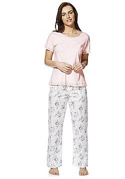 F&F Broderie Anglaise Trim Floral Print Pyjamas - Pink