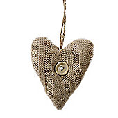 Beige Coloured Knitted Heart Christmas Tree Decorations with Wooden Button