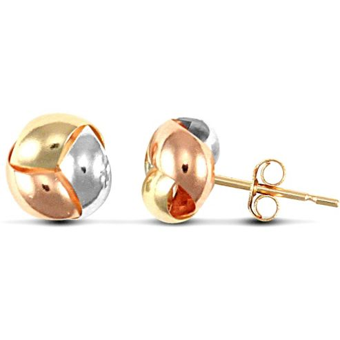 Jewelco London 9ct Yellow,white & rose Gold Knot design Studs