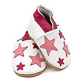 Dotty Fish Soft Leather Baby Shoe - White and Pink Stars - White
