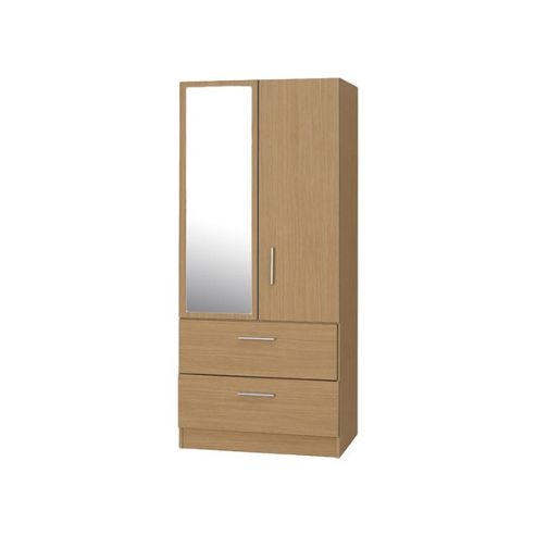 Alto Furniture Mode Combi Two Drawer Wardrobe with Mirror in Oak
