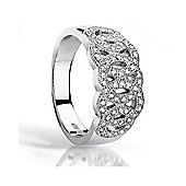 The REAL Effect Rhodium Coated Sterling Silver Cubic Zirconia Dress Ring Size