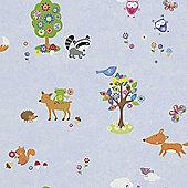 Woodland Creatures Wallpaper - Blue 287448 - Rasch