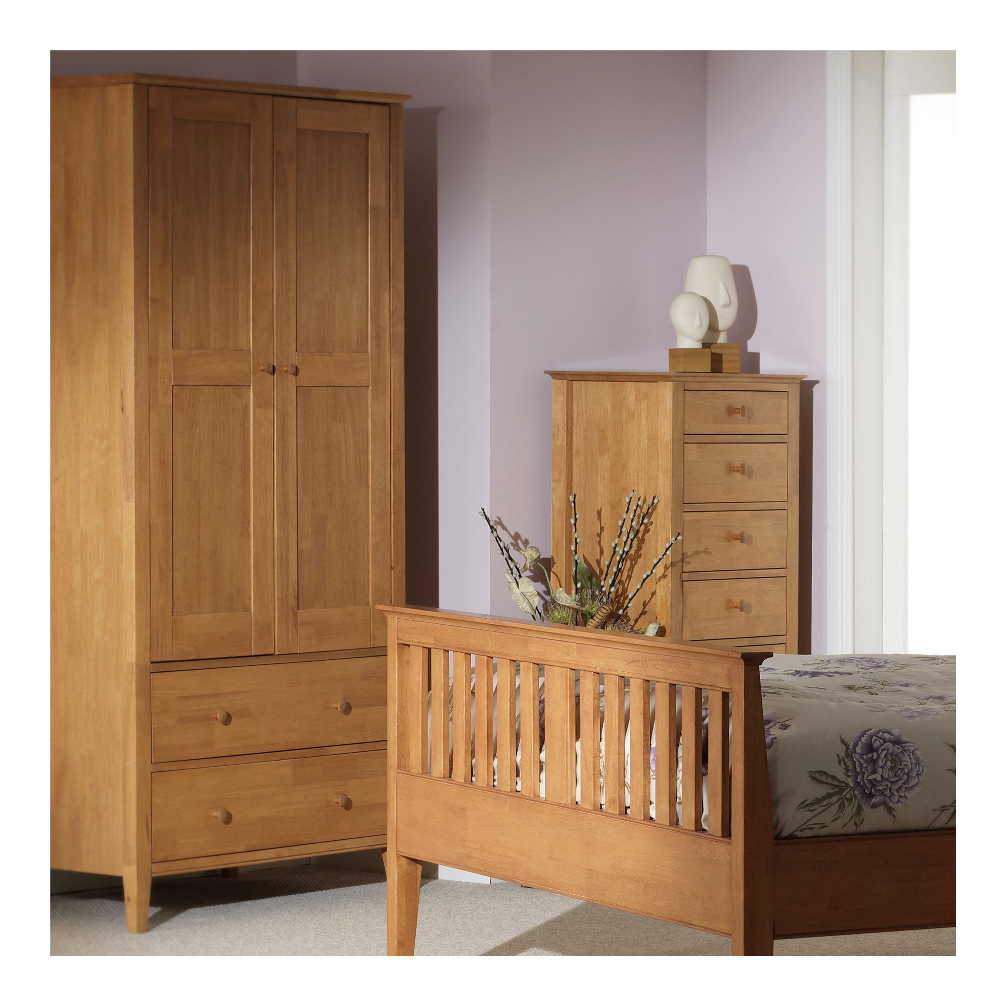 Serene Furnishings Grace 2 Door Wardrobe - Golden Cherry at Tesco Direct