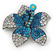 Stunning Teal Blue/Clear Diamante Flower Brooch In Gun Metal Finish - 5cm Diameter