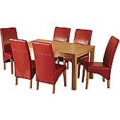 Belgravia Dining Set Natural Oak Veneer 6 Rustic Red PU Leather Dining Chairs