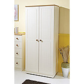 Welcome Furniture Warwick Plain Midi Wardrobe - Cream with Oak Finishing - 127cm H