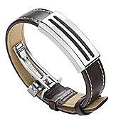 Mens Fred Bennett Brown Leather and Steel Bracelet