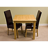G&P Furniture Lyon Oak 3-Piece Small Fixed Top Dining Set