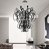 De Majo Ciocca Three Light Pendant - Chrome - Milk / White