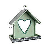 Light Green Wood Garden Bird Feeder with Heart Shaped Apple Holder