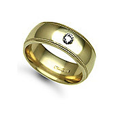 Jewelco London 18ct Yellow Gold 8mm Court Mill-Grain Diamond set 10pts Solitaire Wedding / Commitment Ring