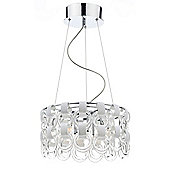 Trendy Chrome 9 Light Ceiling Pendant with White Glass Decoration
