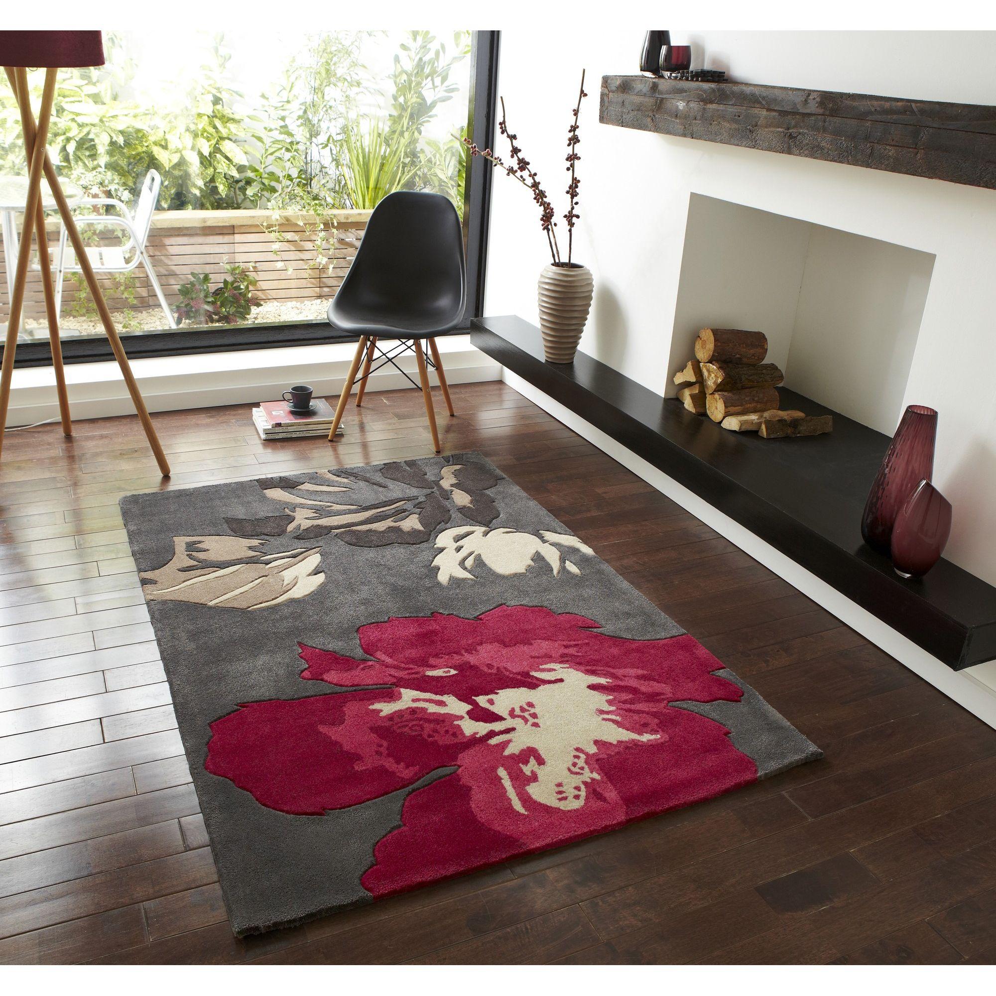 Oriental Carpets & Rugs Hong Kong 2827 Grey/Pink Rug - 90cm x 150cm